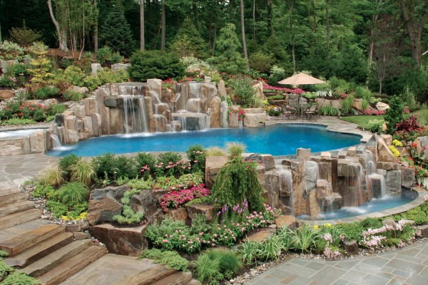 Natural swimming inground pool waterfall design nj 600x400 NJ Custom Inground Pool Builder
