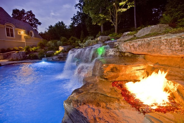 Pool fire pit Landscape Architect design company 600x400 NJ Landscape Design Company