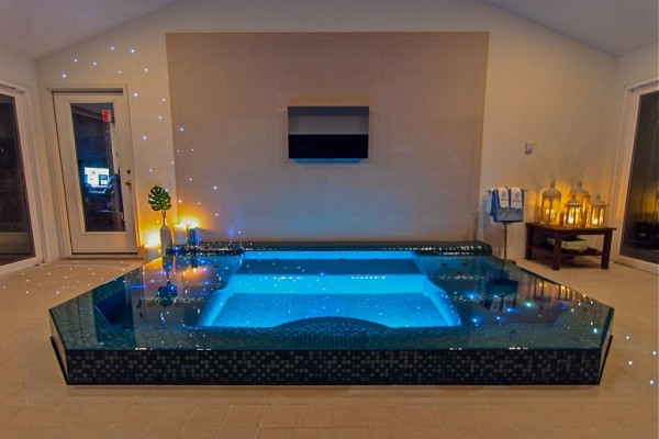indoor glass tile pool spa room pool builder 600x400 NJ Custom Inground Pool Builder