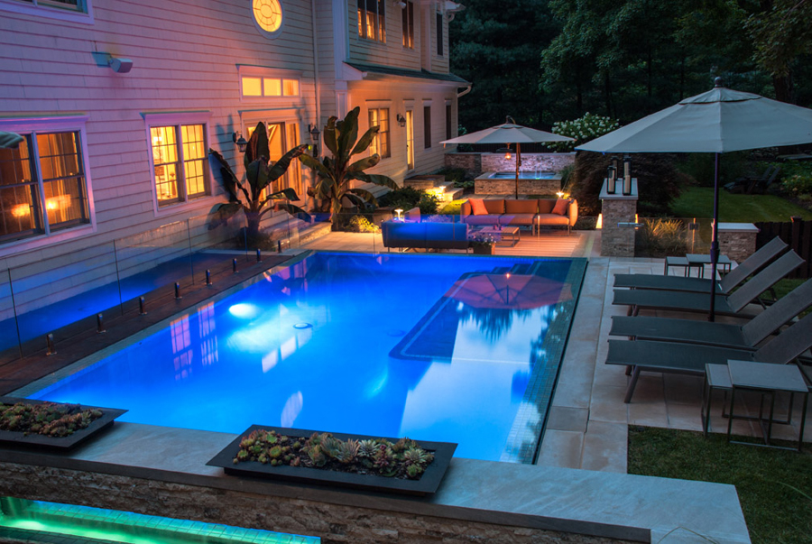 WATER FEATURES FALLS FOR INGROUND POOL DESIGNS BERGEN COUNTY NJ