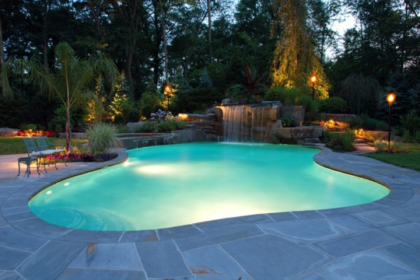 natural swimming pool and landscape lighting NJ builder 600x400 NJ Custom Inground Pool Builder