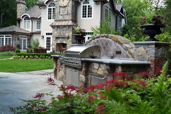 outdoor grill fireplace landscape pool masonry construction 600x400 NJ Landscape Design Company