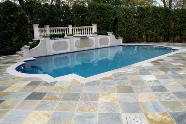 Backyard Pool Natural norwegian buff Stone Patio Wall Design NJ 600x400 Masonry  Stone Patios & Walls
