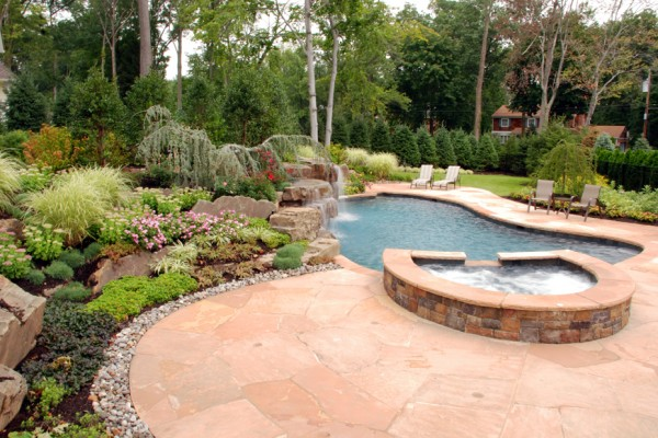 classic oak sandstone backyard pool natural stone patio wall design nj 600x400 masonry stone patios