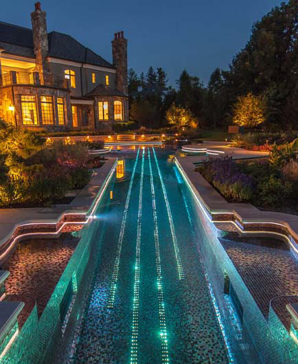Glass tile Inground violin Swimming Pool and Landscaping Lighting vert Bedford NY Glass Tile Pool & Spa
