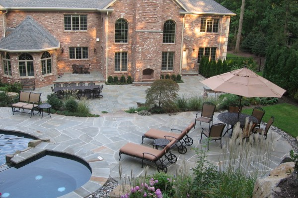 Grey Tennessee Crab Orchard Backyard Pool Natural Stone Patio Wall Design  NJ 600x400 Masonry Stone Patios