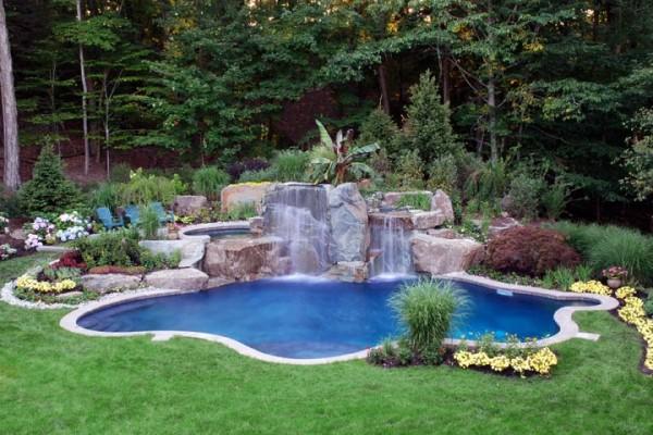 Inground swimming pool spa design and installation waterfall 600x400 Pool & Landscaping Testimonials