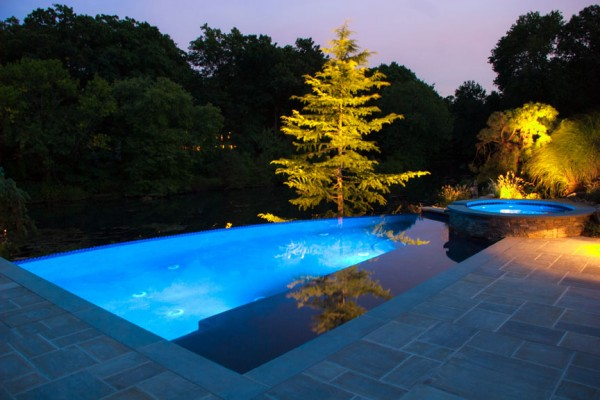 LED pool spa lighting design company 600x400 NJ Custom Inground Pool Builder