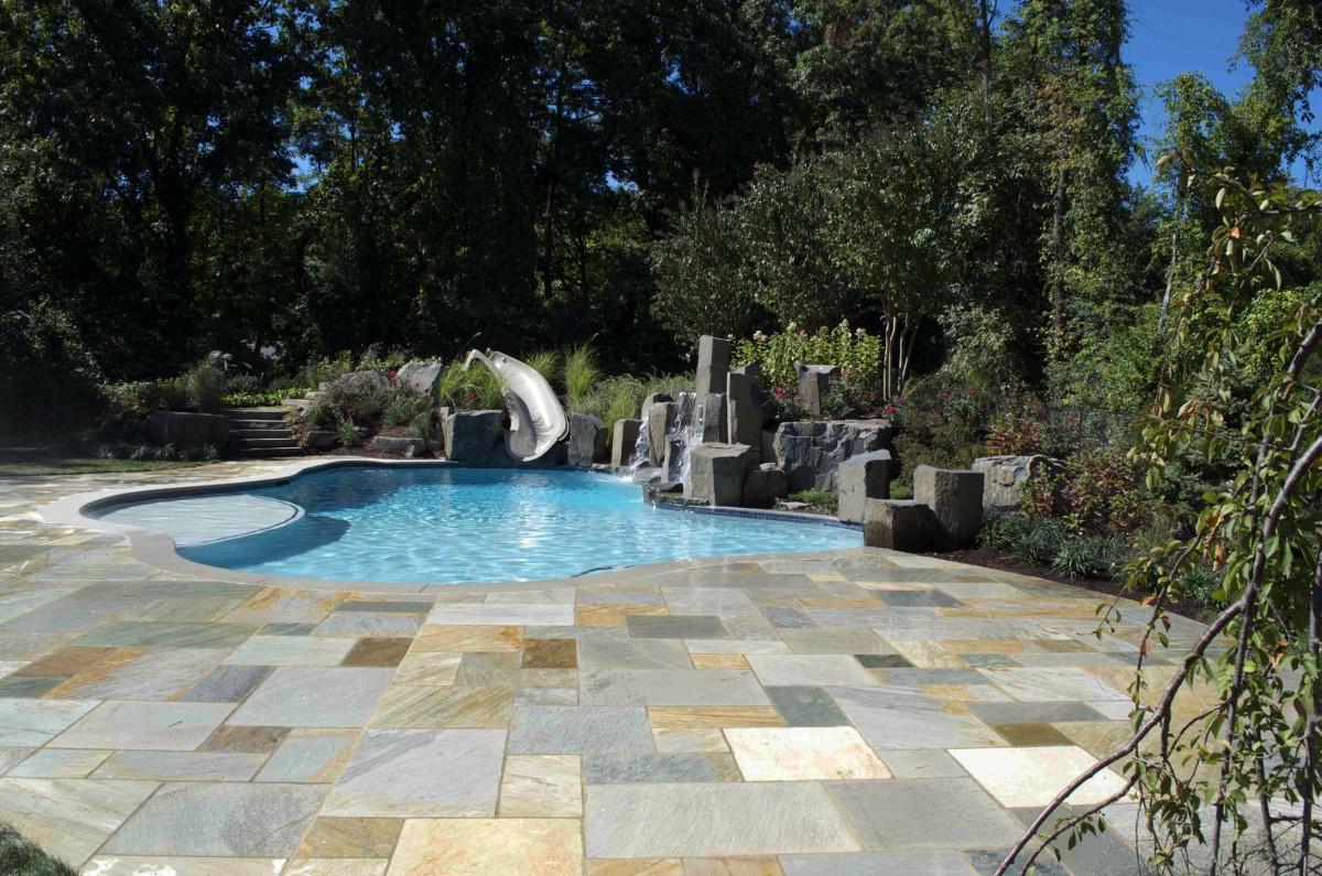 Swimming Pool Masonry : Luxury backyard natural stone pool patio design ideas nj