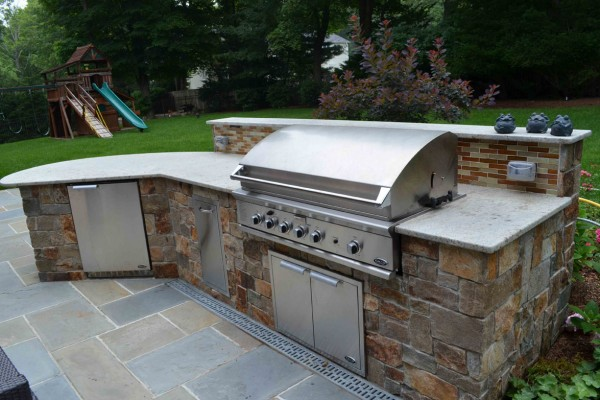 Outdoor Kitchen Brushed Countertop Design Installation 600x400 Outdoor Kitchens  Design & Construction
