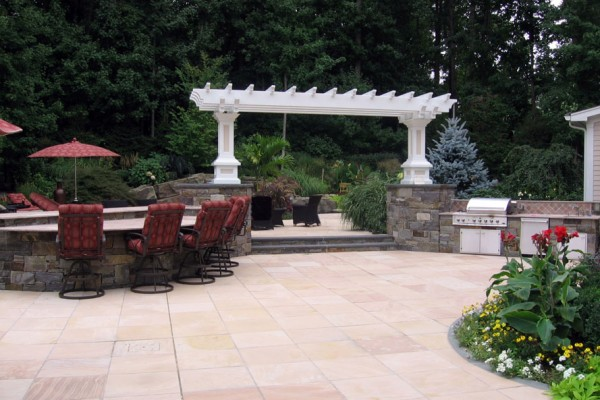 Wet Laid Sandstone Outdoor Patio design 600x400 Masonry  Stone Patios & Walls