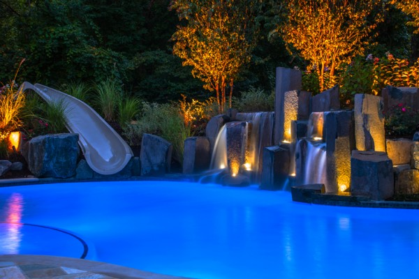 award winning fiber optic custom slide pool 1 600x400 Award Winning Pools & Landscaping