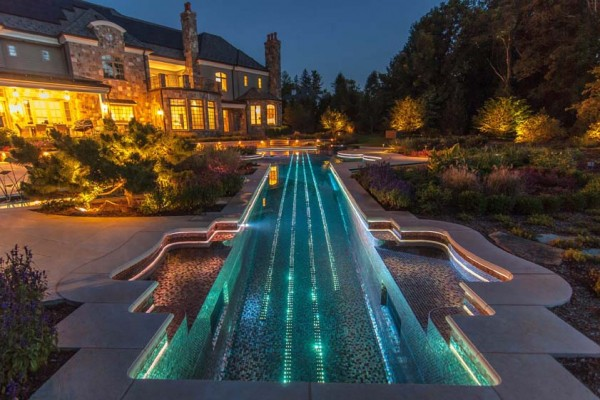 bedford ny Glass tile Inground violin Swimming Pool and Landscaping Lighting 600x400 Bedford NY Glass Tile Pool & Spa