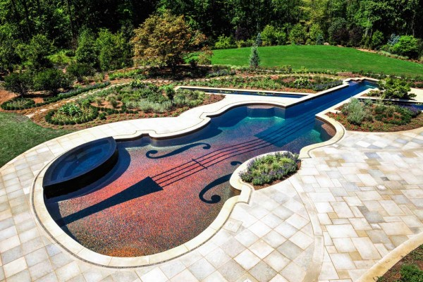bedford ny award winning Luxury Glass Tile violin Swimming Pool Design 600x400 Award Winning Pools & Landscaping