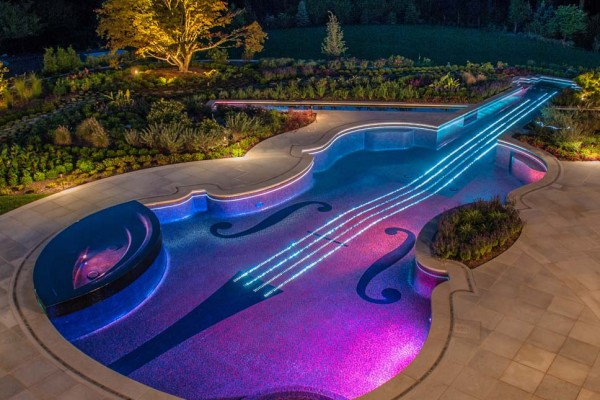 bedford ny award winning violin pool spa night lighting 600x400 Award Winning Pools & Landscaping