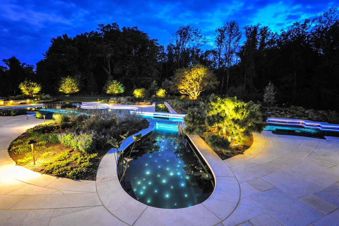 Bedford ny glass tile pool spa cipriano landscape design and custom swimming pools - Swimming pool lighting design ...