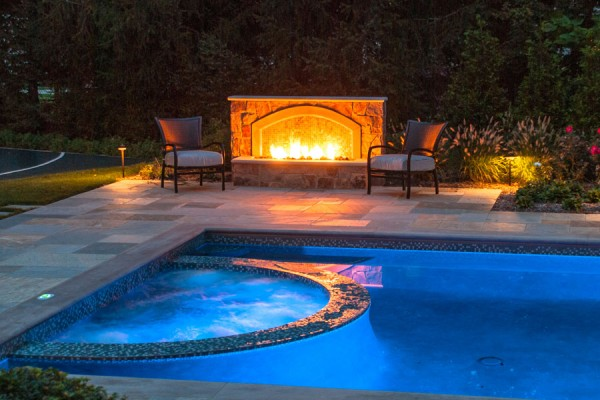 caldwell nj award winning outdoor fire hearth feature pool 600x400 Award Winning Pools & Landscaping