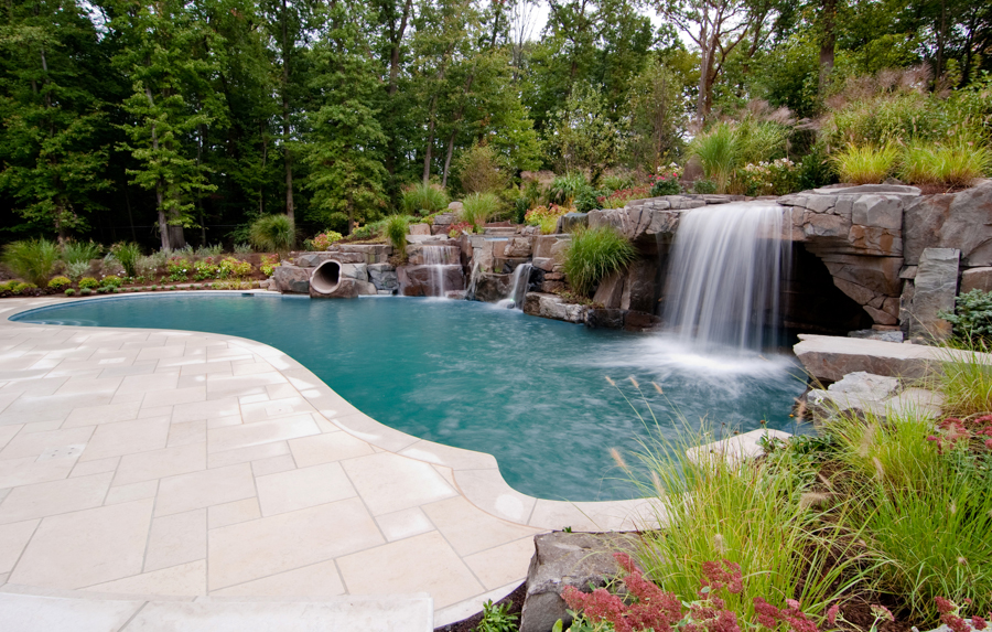 custom luxury swimming pool w slide grotto waterfalls nj 600x382 custom luxury swimming pool w slide - Swimming Pools With Waterfalls And Slide