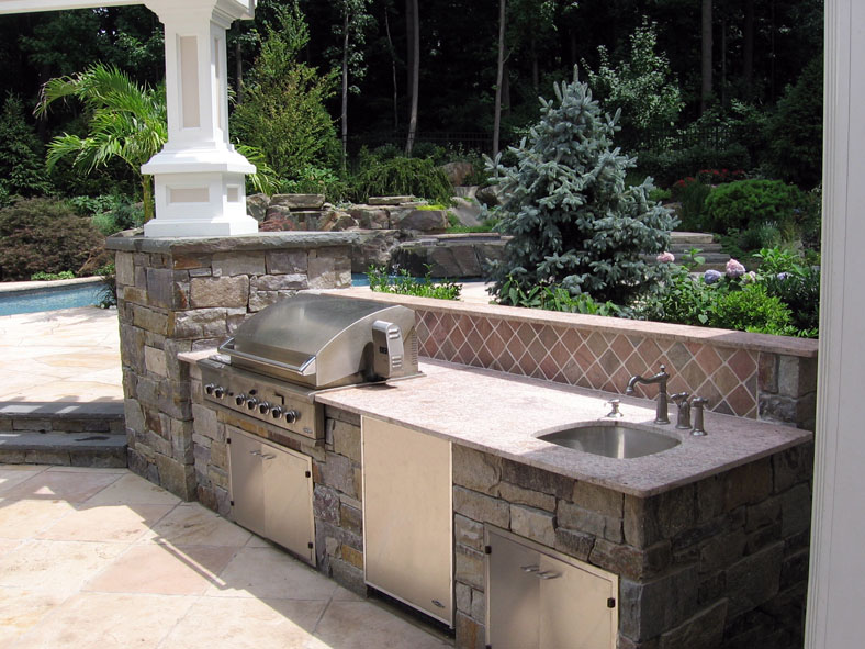 Outdoor kitchen bbq design installation bergen county nj for Poolside kitchen designs