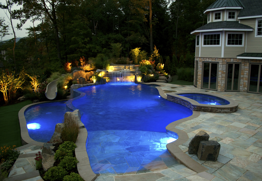 2014 the national landscape award of excellence grand award from the professional landscape network planet custom inground dipping pool design - Outdoor Swimming Pool Designs