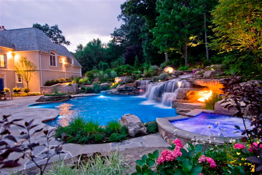 landscape night lighting design Mahwah NJ Landscape Lighting