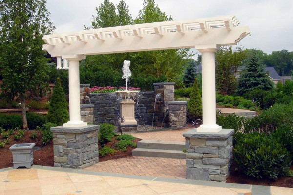 landscaping design with classic pergola 600x400 Custom Cabana, Pergola & Gazebo Design