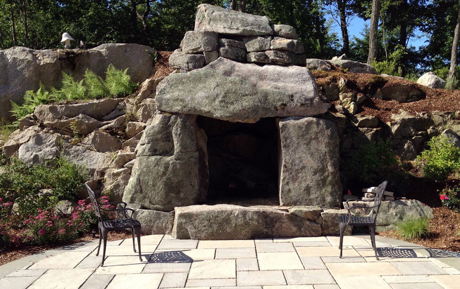 Outdoor fireplace fire pit design installation northern nj for Rustic outdoor fireplace ideas