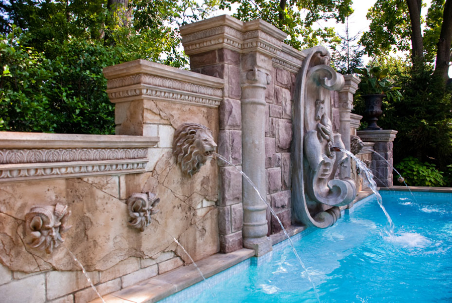 Luxury inground swimming pool waterfalls custom design for Pool show lyon france