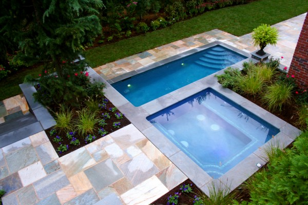 luxury glass tile inground pool custom design ideas nj 600x400 Luxury Swimming Pools