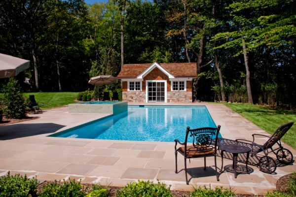 Luxury inground swimming pool waterfalls custom design for Pool design hamilton nj