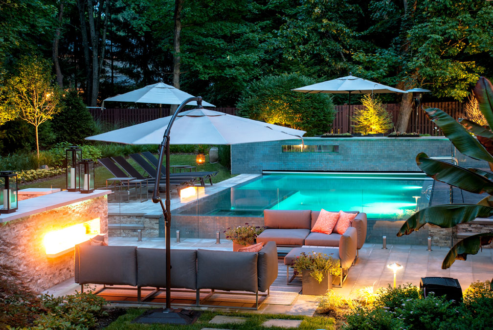 Outdoor fireplace fire pit design installation northern nj for Pool design new jersey