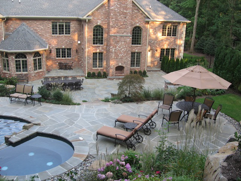 Inground Pool Patio Designs find this pin and more on awesome inground pool designs Inground Pool Patio Designs 3 Story Home With Large In Ground Pool Surrounded By Brick Patio