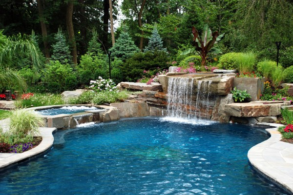 natural outdoor swimming pool waterfall design 600x400 Pool & Landscaping Testimonials