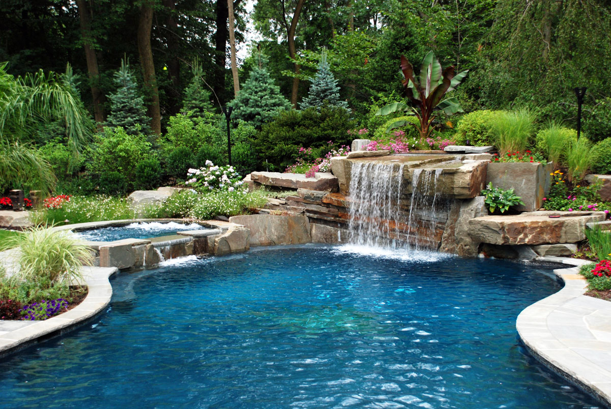 Natural Outdoor Swimming Pool Waterfall Design 600x402 Natural Outdoor Swimming  Pool Waterfall Design