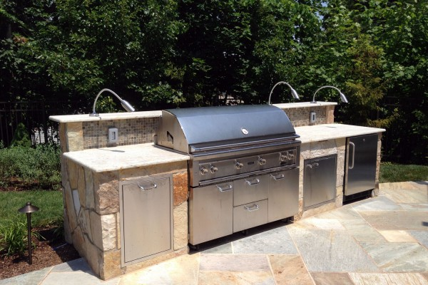 outdoor kitchen designs. natural stone grill outdoor kitchen design 600x400 Outdoor Kitchens Design  Construction Kitchen BBQ Installation Bergen County NJ