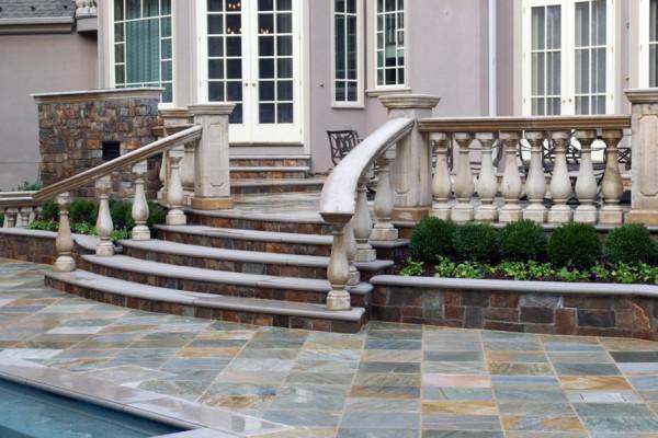 natural stone masonry detail stairway 600x400 Masonry  Stone Patios & Walls