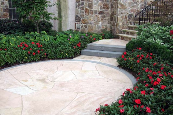 natural stone masonry patio and walkway 600x400 Masonry  Stone Patios & Walls