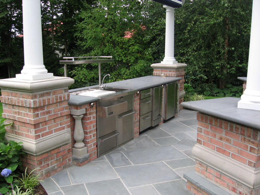 Luxury Backyard Natural Stone Pool Patio Design Ideas NJ