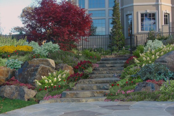 natural stone masonrywalkway plants stairs 600x400 Masonry  Stone Patios & Walls