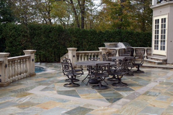 natural stone patio outdoor living room company 600x400 Pool & Landscaping Testimonials