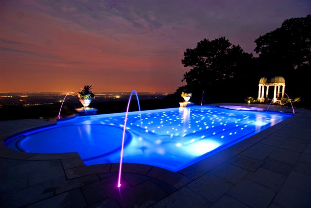 night landscaping pool lighting deck jets NJ Landscape Lighting