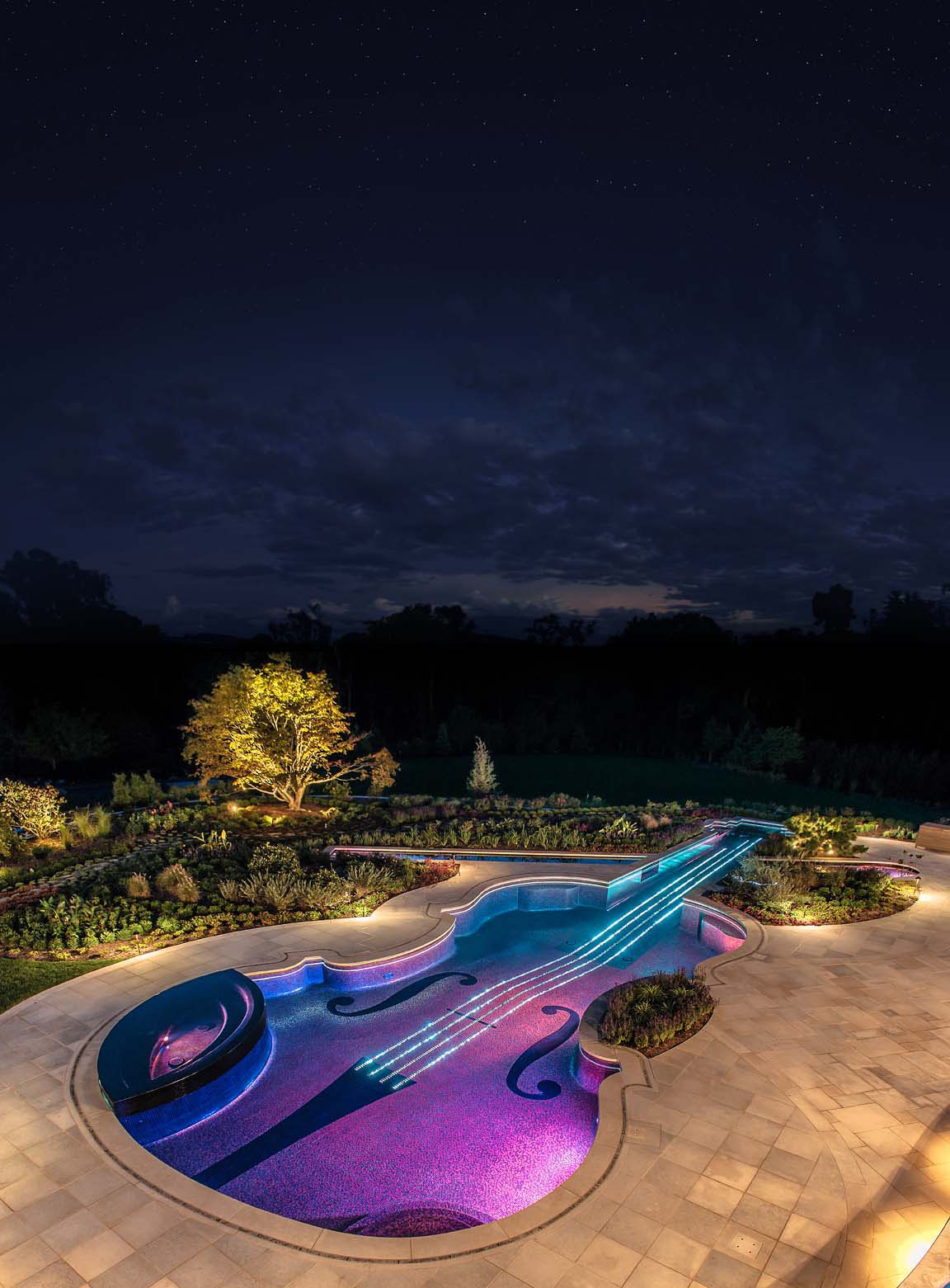 night lighting custom violin swimming pool vert Bedford NY Glass Tile Pool & Spa