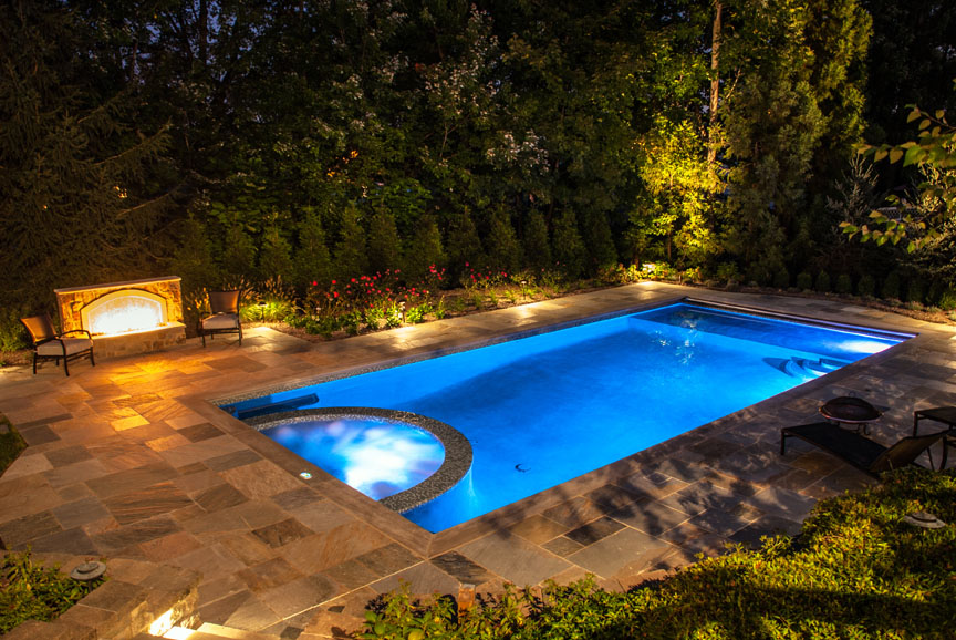 Outdoor fireplace fire pit design installation northern nj for Custom inground swimming pools