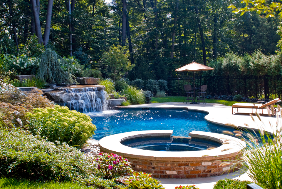 Beautiful landscaping gardens cipriano landscape design nj for Swimming pool landscaping ideas