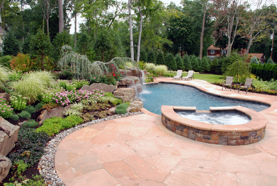 Beautiful landscaping gardens cipriano landscape design nj for Swimming pool patio designs