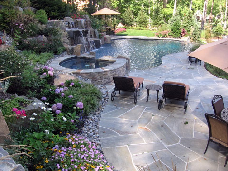 Beautiful landscaping gardens cipriano landscape design nj for Custom swimming pool designs