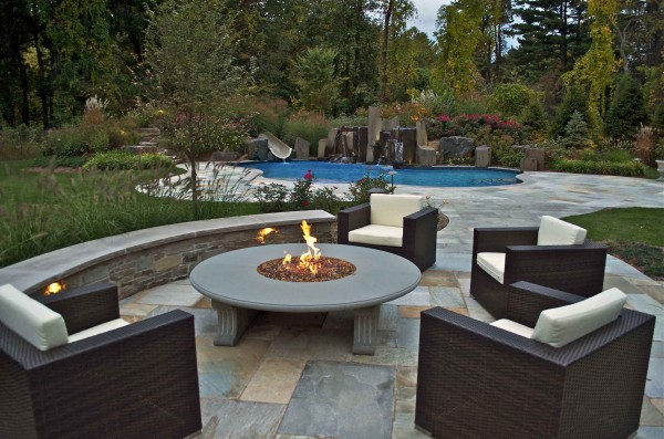 Rockland county ny award winning outdoor fire pit pool for Award winning backyard designs