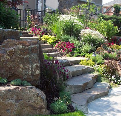 Stone Steps Masonry Garden Landscaping Ideas 417x400 Masonry Stone Patios U0026  Walls