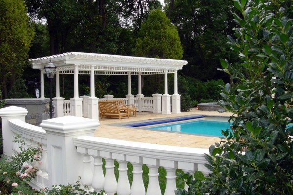 swimming pool pergola design 600x400 Custom Cabana, Pergola & Gazebo Design