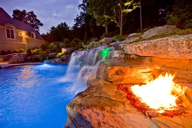 volcanic fire pit swimming pool NJ Landscape Design Company